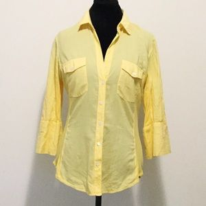 James Perse Yellow Cotton 3/4 Length Sleeve Top